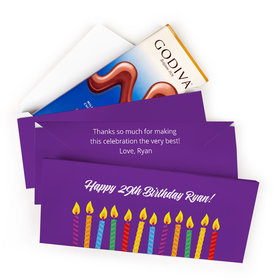Deluxe Personalized Birthday Candles Godiva Chocolate Bar in Gift Box (3.1oz)