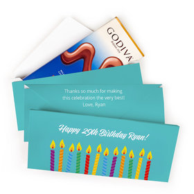 Deluxe Personalized Birthday Candles Godiva Chocolate Bar in Gift Box