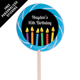 "Birthday Personalized 3"" Swirly Pop Lit Candles (12 Pack)"