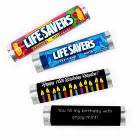 Personalized Candles Birthday Lifesavers Rolls (20 Rolls)