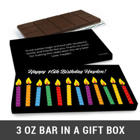 Deluxe Personalized Birthday Candles Belgian Chocolate Bar in Gift Box (3oz Bar)