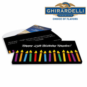 Deluxe Personalized Candles Birthday Ghirardelli Chocolate Bar in Gift Box