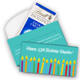 Deluxe Personalized Birthday Candles Lindt Chocolate Bar in Gift Box (3.5oz)