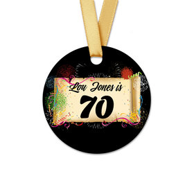 Personalized Birthday 70th Confetti Round Favor Gift Tags (20 Pack)