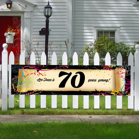 Personalized Confetti 70th Birthday 5 Ft. Banner
