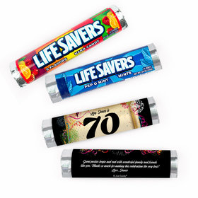 Personalized 70th Confetti Lifesavers Rolls (20 Rolls)