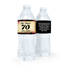 Personalized Milestones Birthday 70th Confetti Water Bottle Sticker Labels (5 Labels)