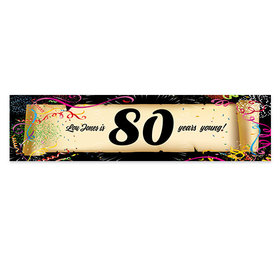 Personalized Confetti 80th Birthday Banner