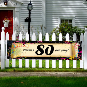 Personalized Confetti 80th Birthday 5 Ft. Banner
