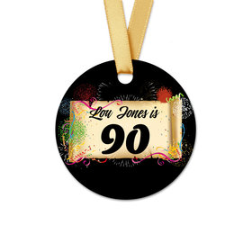 Personalized Birthday 90th Confetti Round Favor Gift Tags (20 Pack)