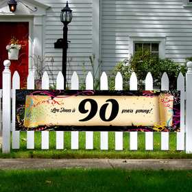 Personalized Confetti 90th Birthday 5 Ft. Banner