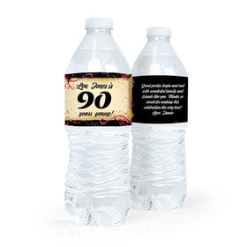 Personalized Milestones Birthday 90th Confetti Water Bottle Sticker Labels (5 Labels)