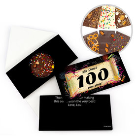 Personalized 100th Scroll Milestone Birthday Gourmet Infused Belgian Chocolate Bars (3.5oz)
