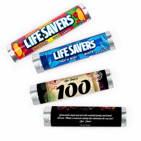 Personalized 100th Confetti Lifesavers Rolls (20 Rolls)