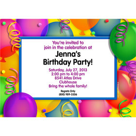 Balloon Bash Personalized Invitation