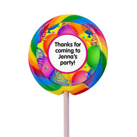 "Balloon Bash Personalized 3"" Lollipops (12 Pack)"
