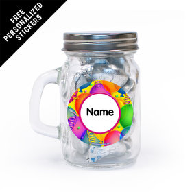 Balloon Bash Personalized Mini Mason Jar 12 Pack