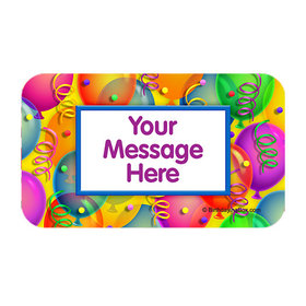 Balloon Bash Personalized Rectangular Stickers (18 Stickers)