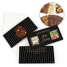 Personalized Then & Now Pinstripes Birthday Gourmet Infused Belgian Chocolate Bars (3.5oz)