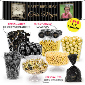 Personalized Birthday Then & Now Pinstripes Deluxe Candy Buffet