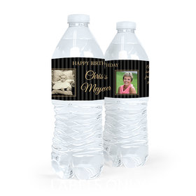 Personalized Birthday Pinstripes Water Bottle Sticker Labels (5 Labels)