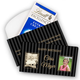 Deluxe Personalized Birthday Then & Now Pinstripes Lindt Chocolate Bar in Gift Box (3.5oz)