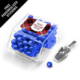 Buffalo Plaid Personalized Candy Bin Dispenser with Scoop 12 Pack