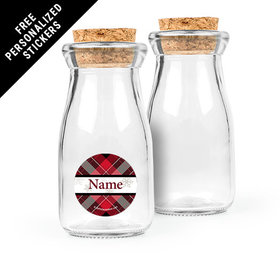 Buffalo Plaid Personalized Glass Bottle with Cork (24 pack)