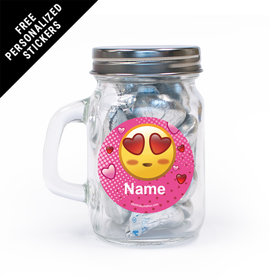 Emojis Pink Personalized Mini Mason Jar 12 Pack