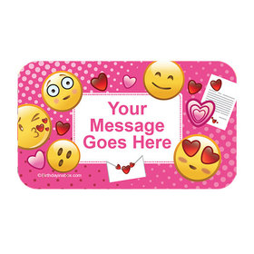 Emojis Pink Personalized Rectangular Stickers (18 Stickers)