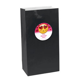 Emojis Pink Personalized Paper Favor Bags (set of 12)