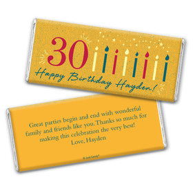 Personalized Milestone Birthday Vintage Thirty Chocolate Bar Wrappers