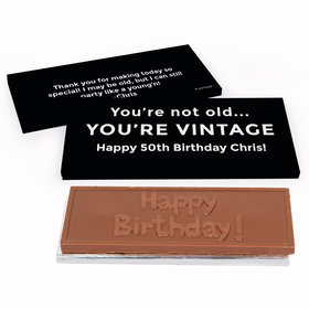 Deluxe Personalized Vintage Birthday Birthday Chocolate Bar in Gift Box