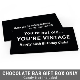 Deluxe Personalized Vintage Birthday Birthday Candy Bar Favor Box