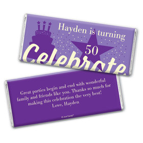 Personalized Milestone Birthday Let's Celebrate Chocolate Bar Wrappers