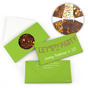 Personalized Birthday Let's Party Birthday Gourmet Infused Belgian Chocolate Bars (3.5oz)
