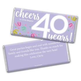 Personalized Milestone Birthday Forty Confetti Chocolate Bar