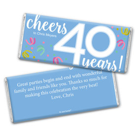 Personalized Milestone Birthday Forty Confetti Chocolate Bar Wrappers