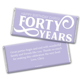 Personalized Milestone Birthday Forty Chocolate Bar Wrappers