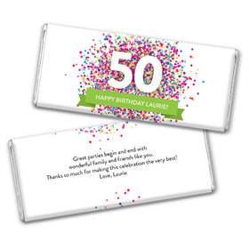 Personalize Any Age Milestone Birthday Confetti Burst Chocolate Bar