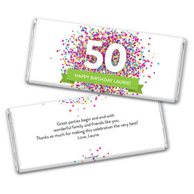 Personalized Milestone Birthday Confetti Burst Chocolate Bar Wrappers