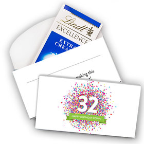 Deluxe Personalized Birthday Confetti Burst Lindt Chocolate Bar in Gift Box (3.5oz)