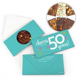 Personalized Birthday Milestone Fifty Confetti Birthday Gourmet Infused Belgian Chocolate Bars (3.5oz)