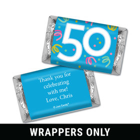 Personalized Fifty Confetti Birthday Hershey's Miniatures Wrappers Only