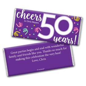 Personalized Milestone Birthday Fifty Confetti Chocolate Bar