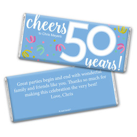 Personalized Milestone Birthday Fifty Confetti Chocolate Bar Wrappers