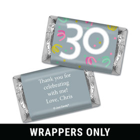 Personalized Thirty Confetti Birthday Hershey's Miniatures Wrappers Only