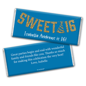 Personalized Birthday Sweet 16 Glitter Party Chocolate Bar