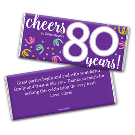 Personalized Milestone Birthday Eighty Confetti Chocolate Bar