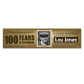 Personalized 100th Wanted Photo Birthday Banner